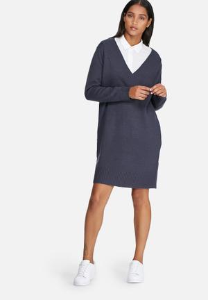 Jacqueline De Yong Ryder V-neck Dress Formal Blue