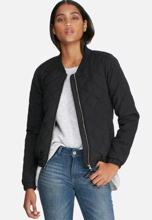 Jacqueline De Yong New Treasure Quilted Bomber Jackets Black