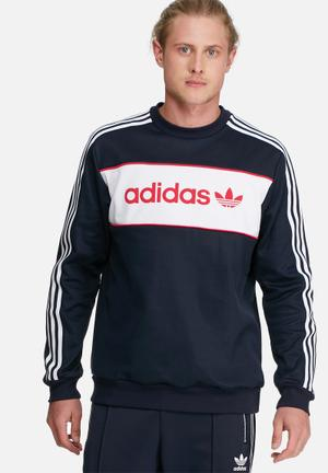 Adidas Originals London 70s Crew Sweat Hoodies & Sweatshirts Navy, White & Red