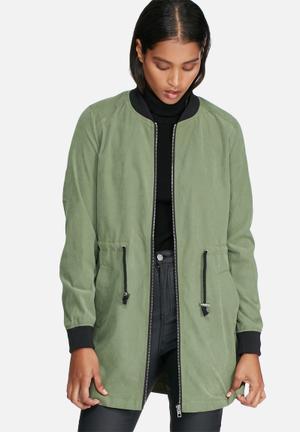Jacqueline De Yong Avela Treasure Long Jacket Khaki
