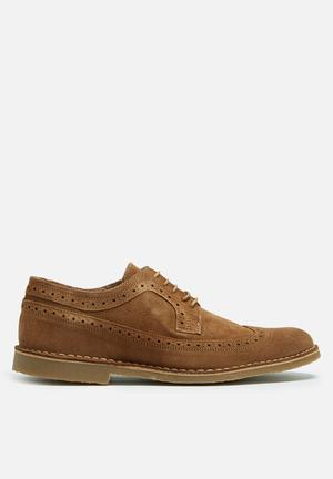 Selected Homme Royce New Light Suede Brogue Shoe Tan