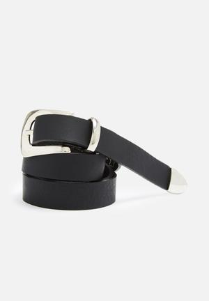 Dailyfriday Leather Tipped Belt  Black