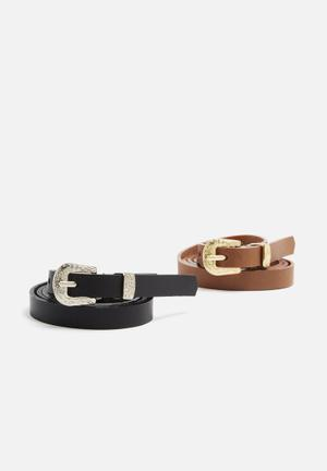 Dailyfriday 2 Pack Leather Belt Black & Tan