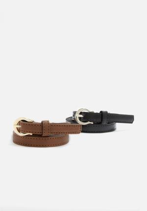 Dailyfriday 2 Pack PU Belt  Black & Tan