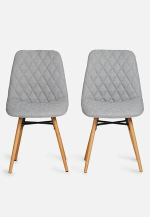 Sixth Floor Lif Dining Chair Set Of 2 Corsica Fabric, Metal & Oak