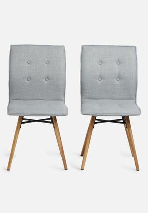 Sixth Floor Bessie Dining Chair Set Of 2  Rio Fabric, Metal & Oak