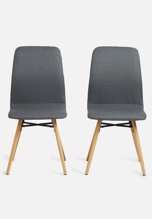 Sixth Floor Amanda Dining Chair Set Of 2 Corsica Fabric, Metal & Oak