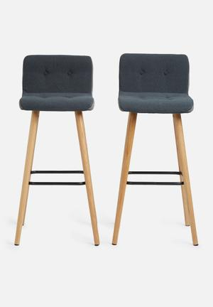 Sixth Floor Frida Barstool Set Of 2 Darin Fabric, Metal & Oak