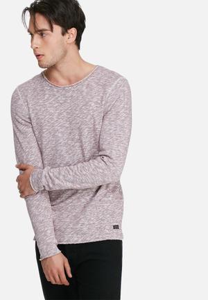 PRODUKT Slub Sweat Top Hoodies & Sweatshirts Maroon Melange