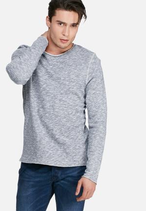 PRODUKT Slub Sweat Top Hoodies & Sweatshirts Navy Melange