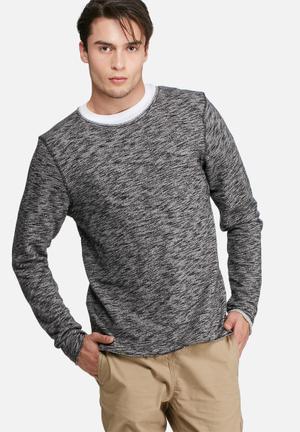 PRODUKT Slub Sweat Top Hoodies & Sweatshirts Black Melange