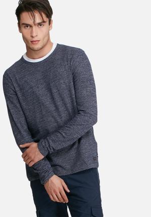 PRODUKT Lum Sweat Top Hoodies & Sweatshirts Navy Melange