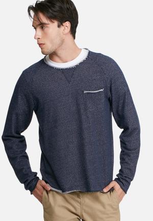 PRODUKT Arc Crew Sweat Hoodies & Sweatshirts Navy Blue & White