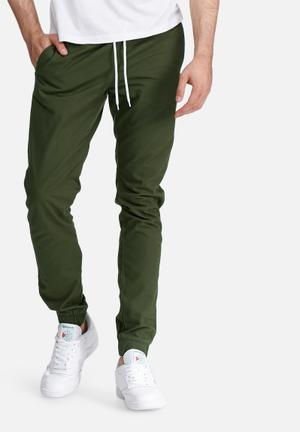 PRODUKT Cuffed Slim Jogger Pants & Chinos Green
