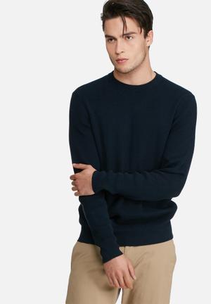 Ben Sherman Tonic Textured Crew Knit Knitwear Navy