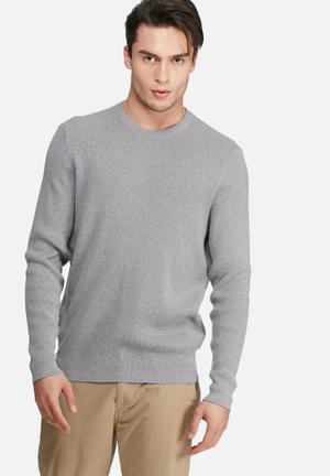 Ben Sherman Tonic Textured Crew Knit Knitwear Grey