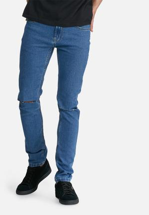 Only & Sons Warp Skinny Knee Rip Jeans Blue