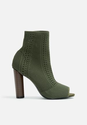 Knitted sock peep toe bootie