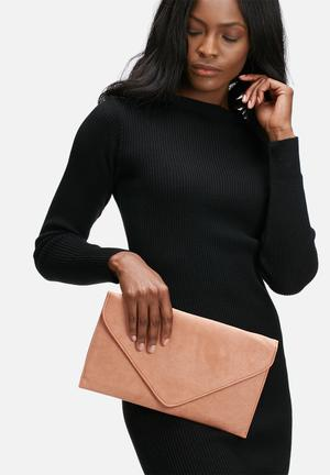 Missguided Envelope Clutch Bag Peach