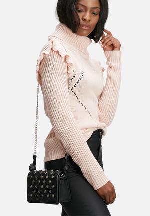 Missguided Mini Studded Cross Body Bag Black