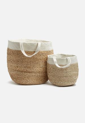 Sixth Floor Jute & Cotton Basket Accessories Jute & Cotton