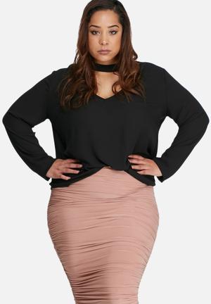 Missguided Plus Size Choker Blouse Tops Black