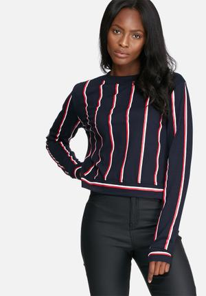 Daisy Street Stripe Top T-Shirts, Vests & Camis Navy, Red & White