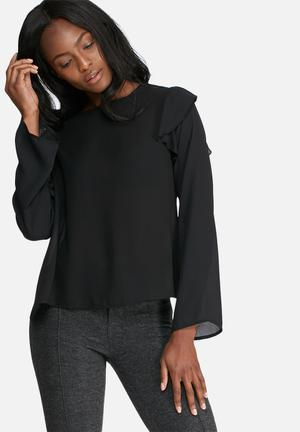 Dailyfriday Shoulder Frill Shell Top Blouses Black