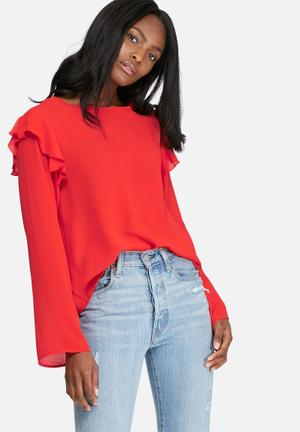 Dailyfriday Shoulder Frill Shell Top Blouses Red