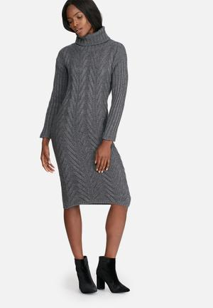 Dailyfriday Cabled Midi Dress Casual Grey