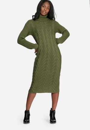 Dailyfriday Cabled Midi Dress Casual Olive