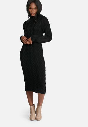 Dailyfriday Cabled Midi Dress Casual Black