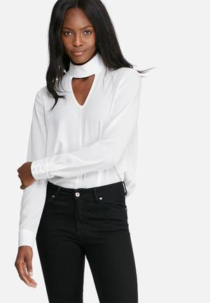 Dailyfriday Long Sleeve Choker Blouse White