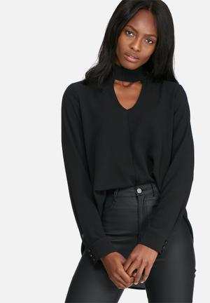 Dailyfriday Long Sleeve Choker Blouse Black