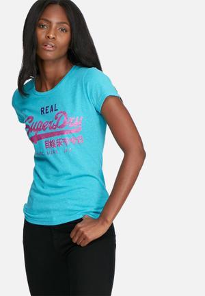 Superdry. Vintage Logo Tri Entry Tee T-Shirts, Vests & Camis Turquoise Melange
