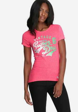 Superdry. Stacker Tee T-Shirts, Vests & Camis Neon Pink