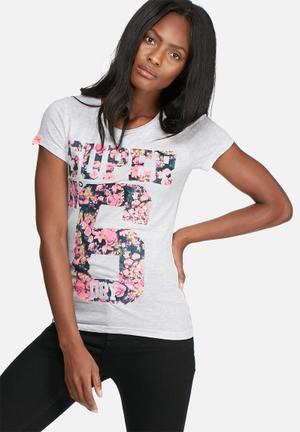 Superdry. Super No 6 Floral Tee T-Shirts, Vests & Camis Grey Melange