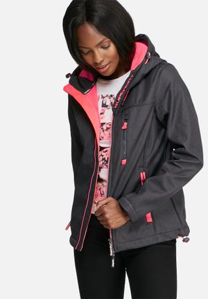 Superdry. Hooded Windbreaker Jackets Black & Pink