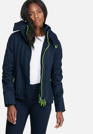 Superdry. Pop Zip Hood Arctic Windbreaker Jackets Navy & Neon Yellow