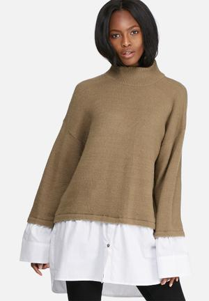 Dailyfriday Knitwear Shirt Combo Brown & White