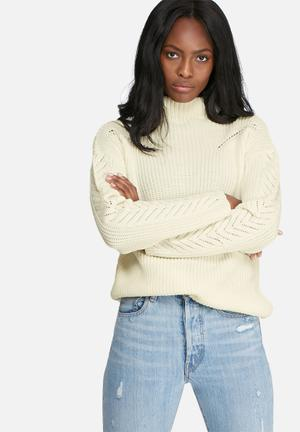 Dailyfriday Ribbed Funnel Neck Knit Knitwear White