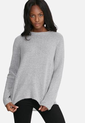 Dailyfriday Pleat Back Jumper Knitwear Grey & White