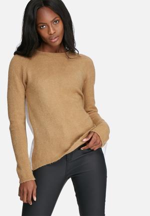 Dailyfriday Pleat Back Jumper Knitwear Camel & White
