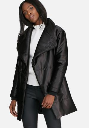Mid length belted padded jacket
