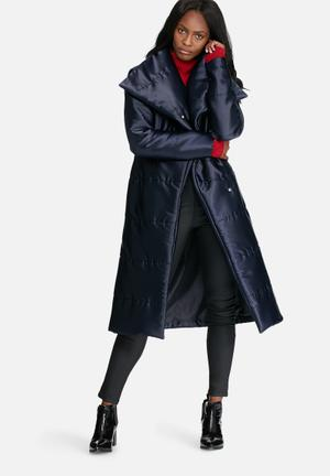 Dailyfriday Longer Length Belted Padded Coat Navy