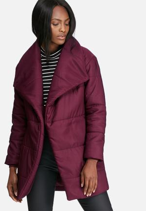 Dailyfriday Mid Length Belted Padded Jacket  Burgundy