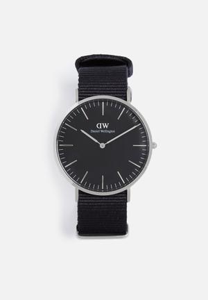 Daniel Wellington Cornwall Watches Black & Silver