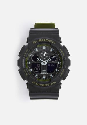 Casio G-shock Anadigi GA-100L-1ADR Watches Black & Green