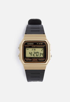 Casio Digital Watch F-91WM-7ADF Black & Gold