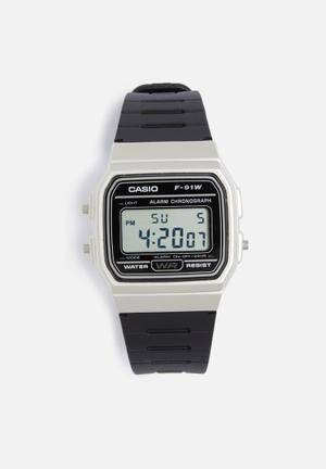 Casio Digital Watch F-91WM-9ADF Black & Silver